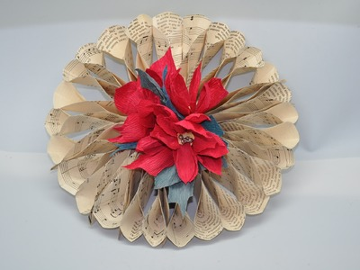 Wianek z papieru.  Christmas ornament - paper wreath DIY
