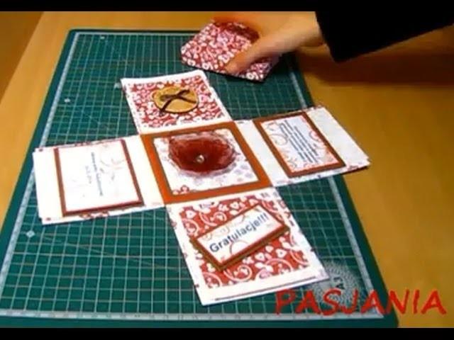Zobacz jak zrobić przestrzenną kartkę gratulacyjną w formie pudełka - scrapbooking.Exploding Box