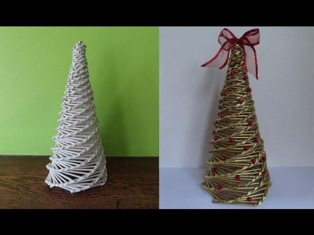 Jak zrobić choinkę z papierowej wikliny, wicker paper, christmas tree