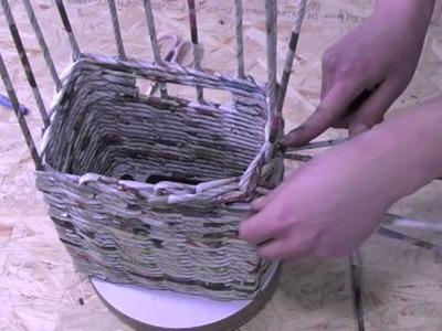 Papierowa wiklina krok po kroku - zakończenie ozdobne koszyka