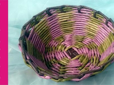 Jak zrobić kolorowy okrągły koszyk z papierowej wikliny? [basket, paper wicker] (Claoodia Art)