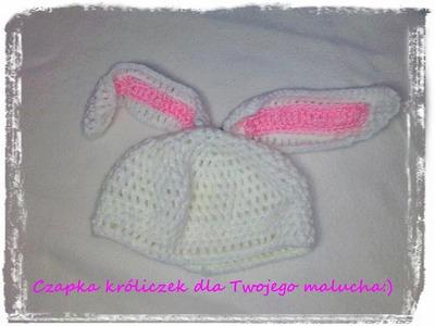 Czapeczka króliczek szydełko.bunny hat Crochet