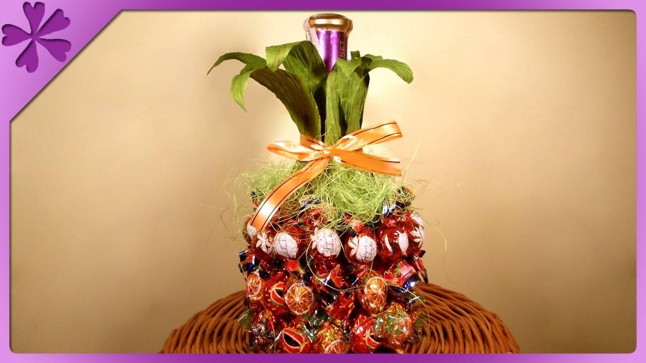 DIY Ananas z wina i cukierków. Wine and candy pineapple (+ENG Annotations) - Na szybko #15