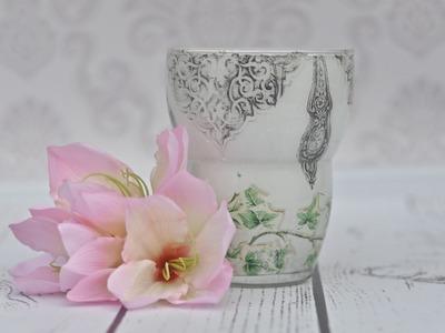 Decoupage tutorial szklany wazon z bluszczem