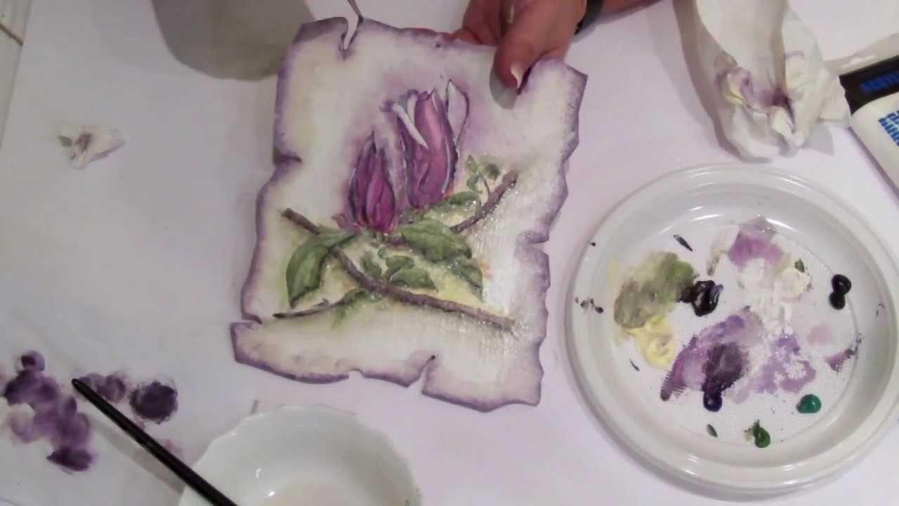 Decoupage krok po kroku - cieniowanie akrylami - kolor
