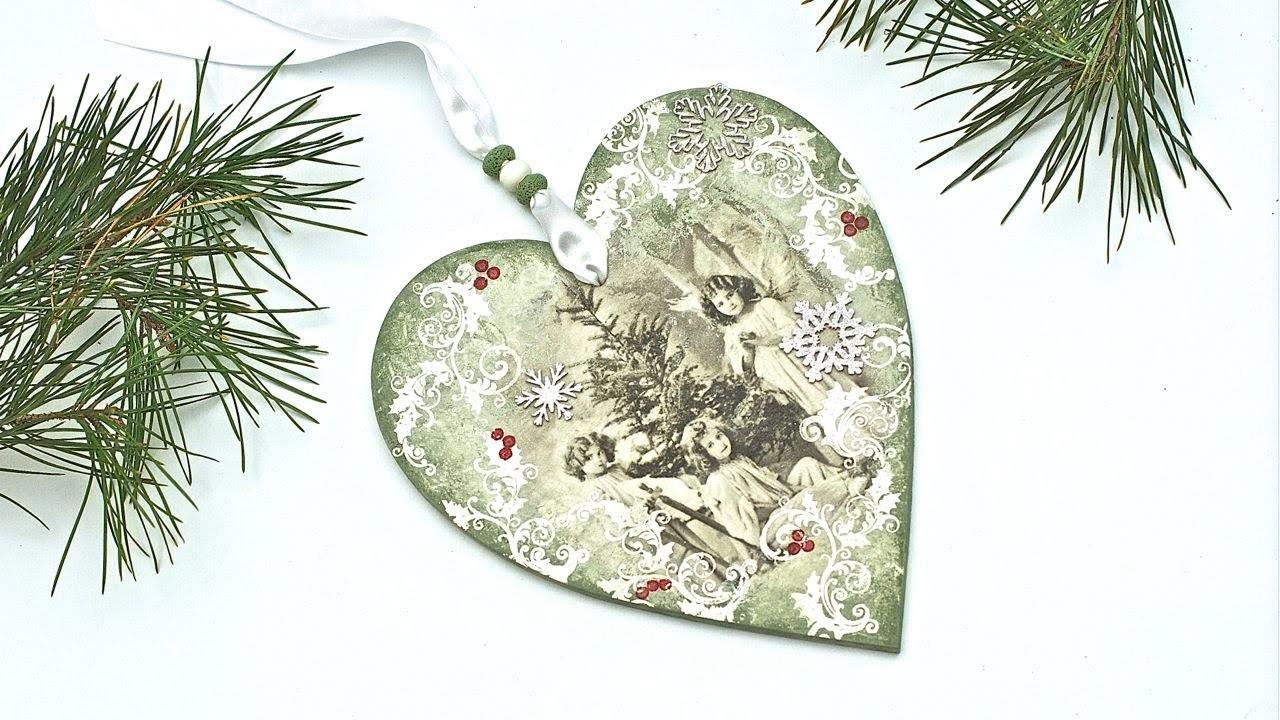 Decoupage krok po kroku - świąteczne serduszko - stroik na Boże Narodzenie