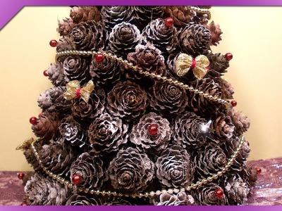 DIY Choinka z szyszek. Pine cones Christmas tree (+ENG Annotations) - Na szybko #31