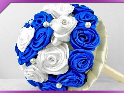 DIY Bukiet z róż ze wstążki. Ribbon roses bouquet (+ENG Subtitles) - Na szybko #88