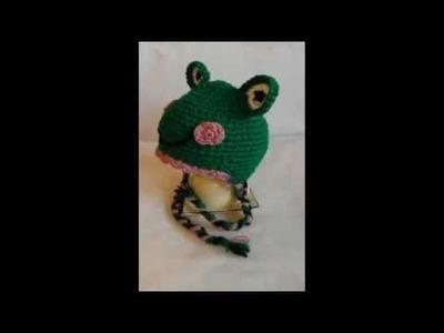 Czapka na szydełku żabka. crochet beanie. czapka szydełkowa