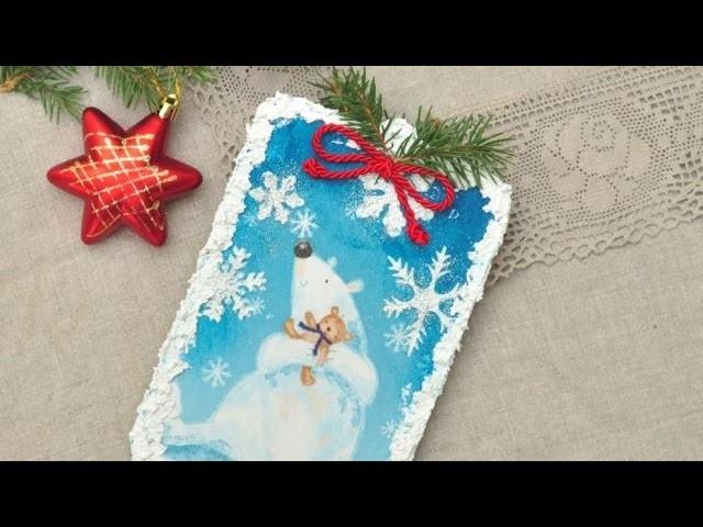 Decoupage - zimowe obrazki z pastą śniegową