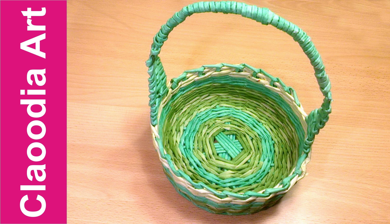Koszyk wielkanocny z papierowej wikliny z rączką, uchwytem [Easter basket, wicker] (Claoodia Art)