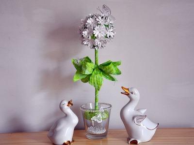 Drzewko z papierowych kwiatków DIY# Papermaking DIY