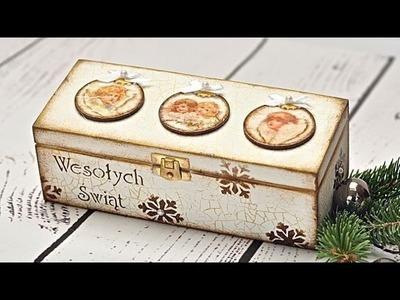 Decoupage świąteczna skrzyneczka z bombkami - DIY TUTORIAL