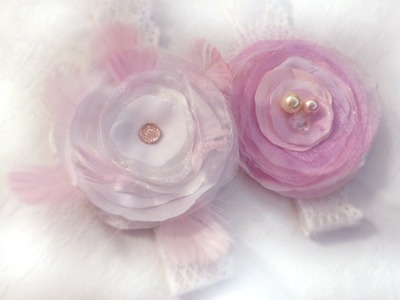 DIY Baby headband Shabby Chic fabric feather flower tutorial jak zrobić opaskę do włosów kwiat pióra