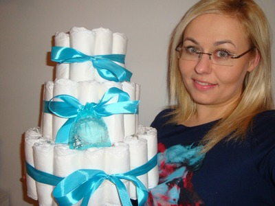DIY: TORT Z PIELUSZEK How to Make a Baby Diaper Cake! [OnTheLineWithAlex]