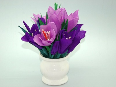 Jak zrobić krokusy z bibuły. Tissue flowers - Crocuses DIY
