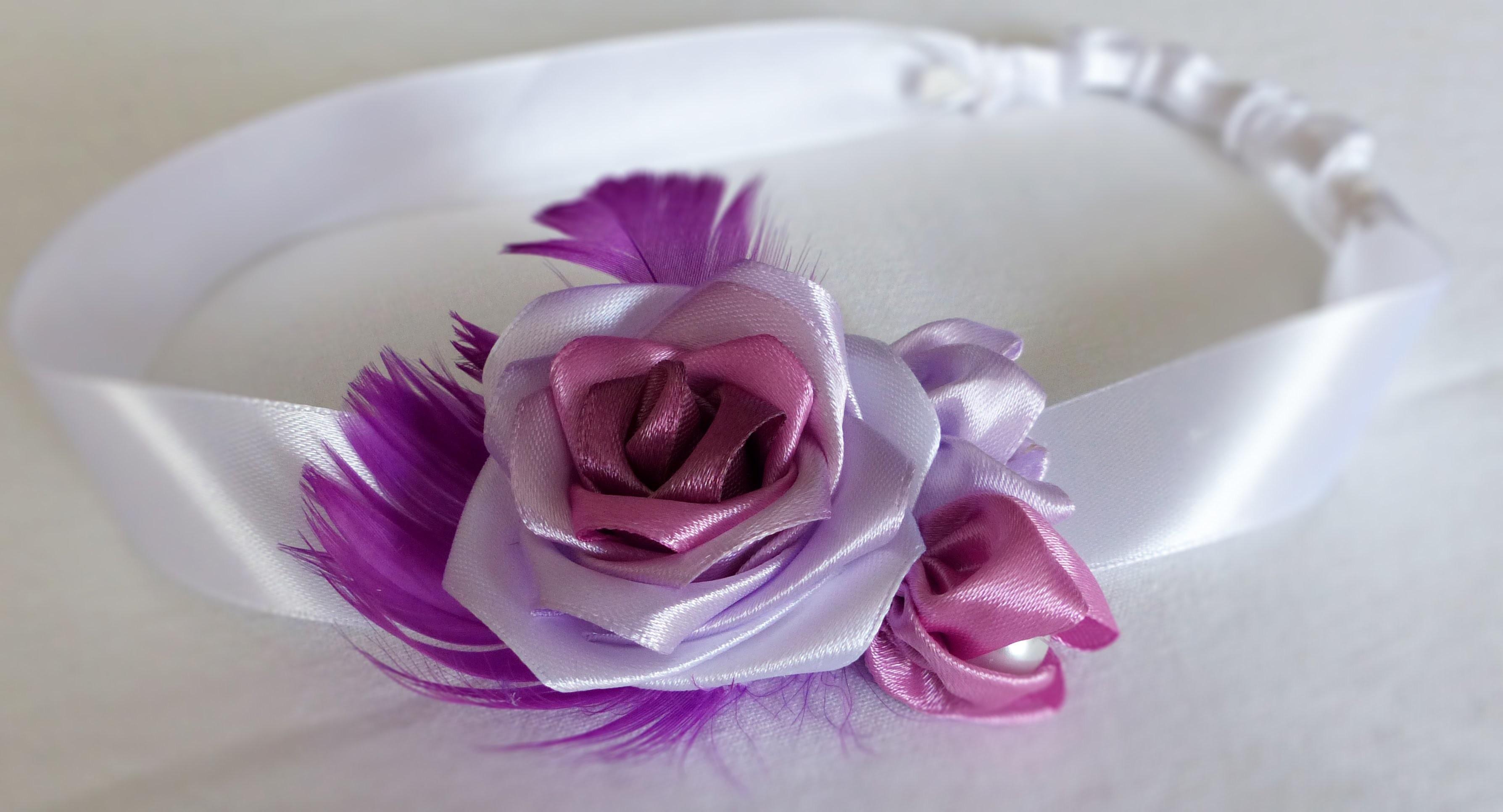 DIY handmade satin ribbon rose feather headband róża wstążka satynowa Роза из атласной ленты opaska