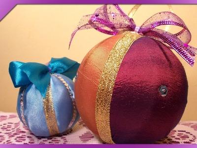 DIY Bombki z materiału. Fabric Christmas balls (+ENG Annotations) - Na szybko #36