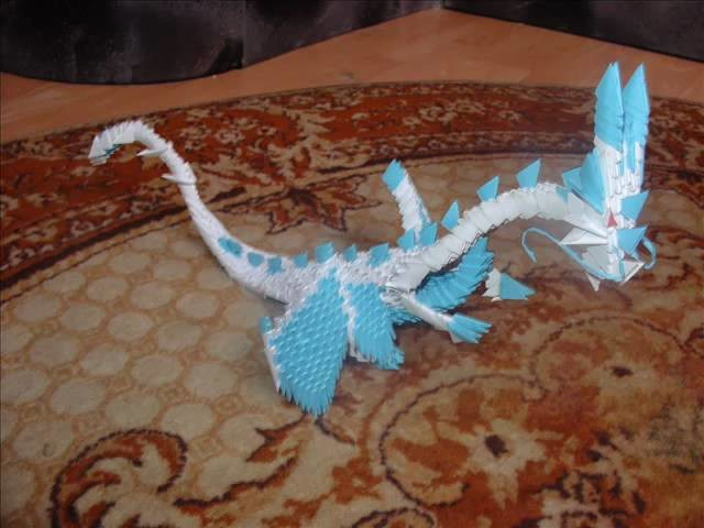 White & Blue Dragon 3d origami by angeliqs