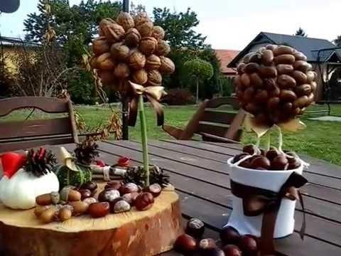 DIY Jesienne dekoracje kule z orzechów,szyszek i żołędzi