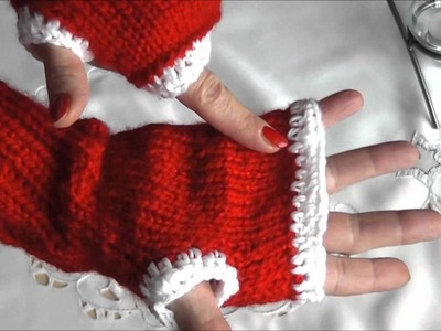 Rękawiczki bez palcow na drutach (mitenki)
