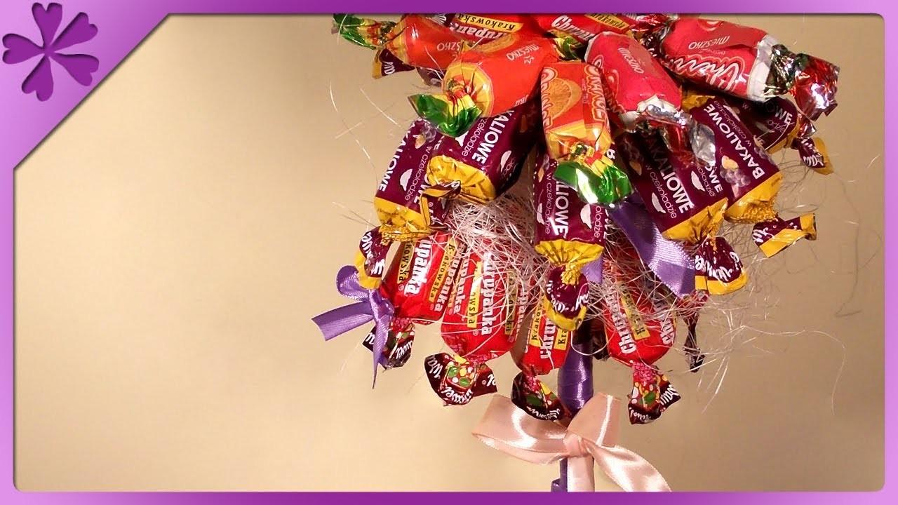 DIY Drzewko z cukierków. Candy tree (+ENG Annotations) - Na szybko #9