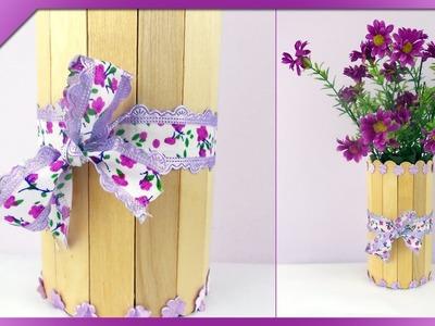 DIY Wazon z patyczków. Ice-cream stick flower vase (+ENG Subtitles) - Na szybko #104