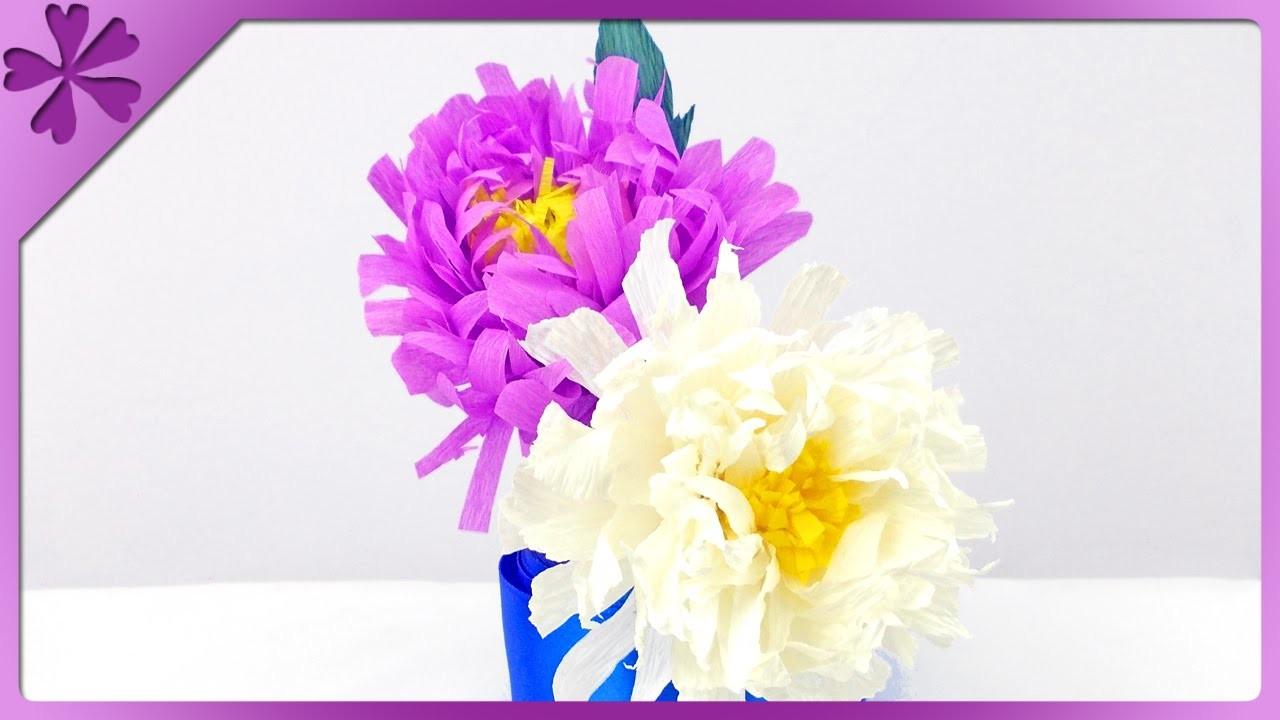 DIY Chryzantemy z bibuły. Tissue paper chrysanthemum (+ENG Subtitles) - Na szybko #141