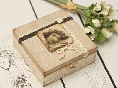 Decoupage krok po kroku - pudełko retro z koronkami