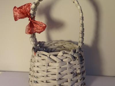 Papierowa wiklina - koszyk z rączką