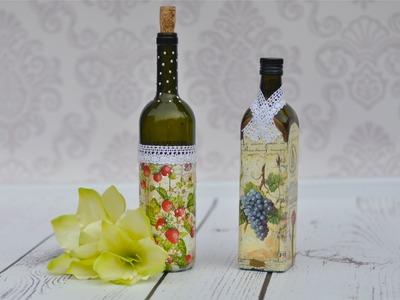 Decoupage krok po kroku - butelka na wino