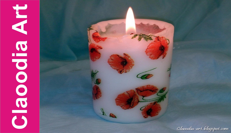 Ozdabianie świeczki (decoupage) - z pomocą suszarki [candle decuopage hair dryer] (Claoodia Art)