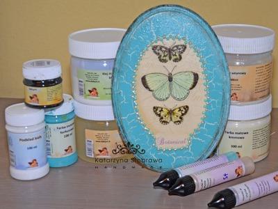 Tutorial decoupage DIY - turkusowe motyle ze spękaniami jednoskładnikowymi.