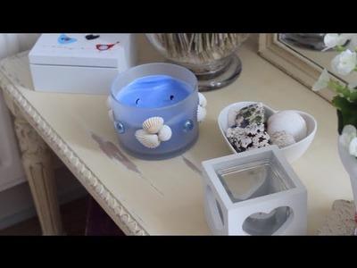 Domowe DIY - Sea Side Inspired - wieszak na biżuterię.świecznik.obrazki z muszelek