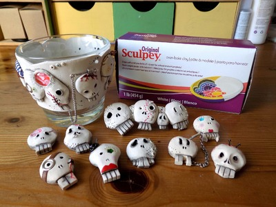 Polymer clay skulls and spooky jewelry. Czaszki z modeliny