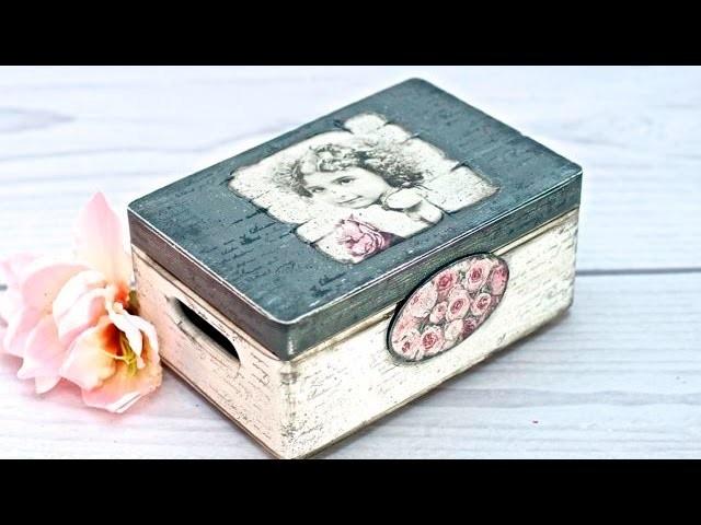 Decoupage  skrzynka z dziewczynką - tutorial DIY