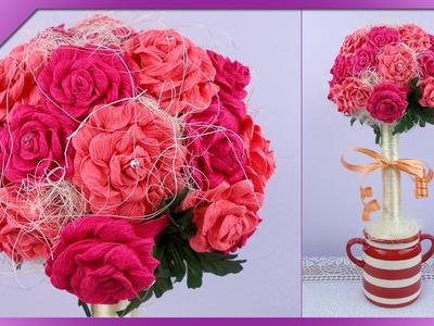 DIY Drzewko z róż. Roses tree (+ENG Annotations) - Na szybko #61