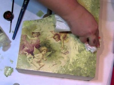 Decoupage - etapy pracy - malowanie reklamówką