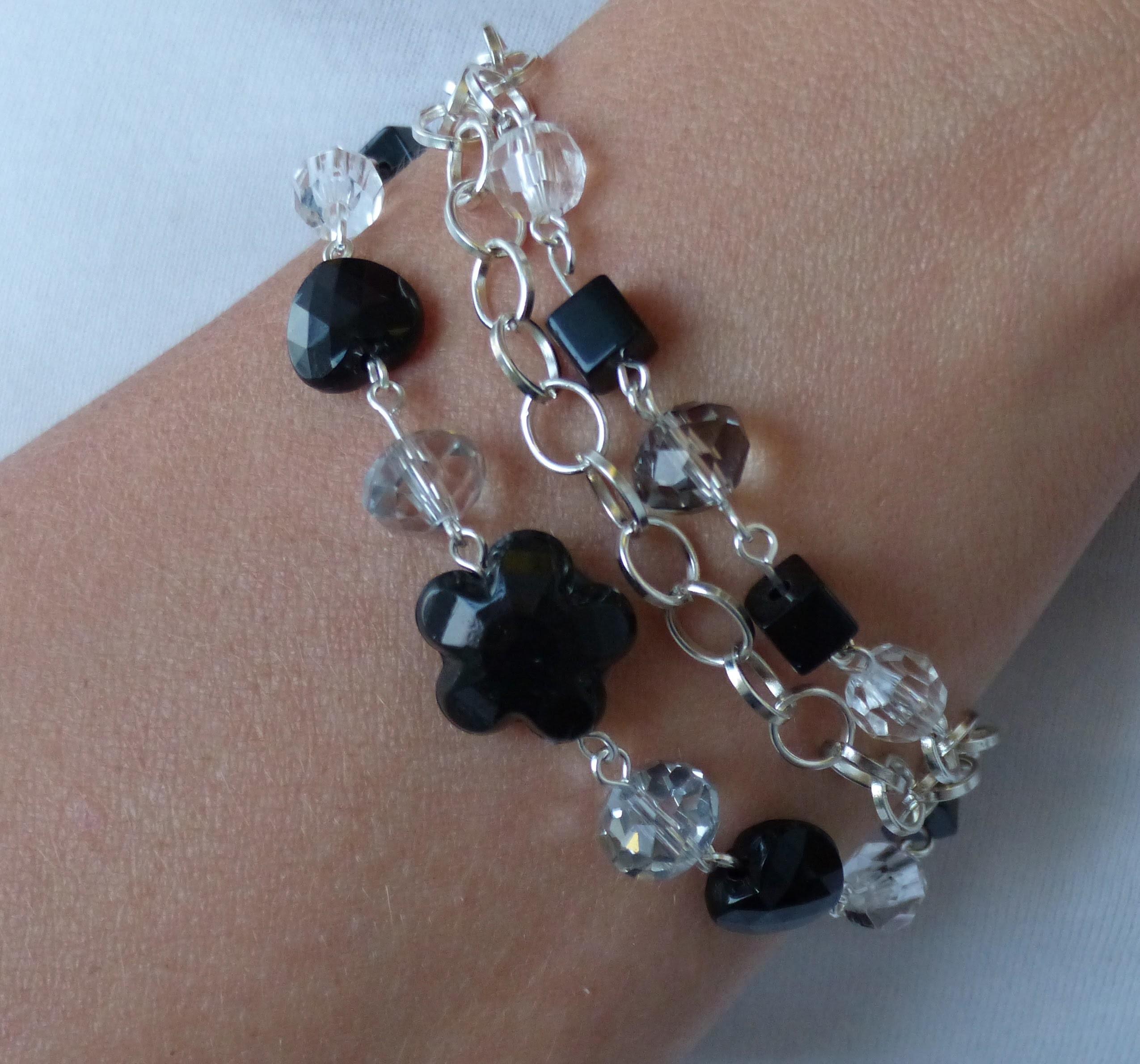 Bracelet beeds crystals DIY jewellery making Swarovski Bransoletka z koralików Браслет из бисера
