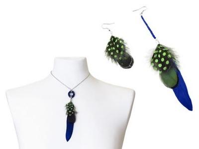 Kolczyki i wisiorek z piórek - kurs biżuterii DIY