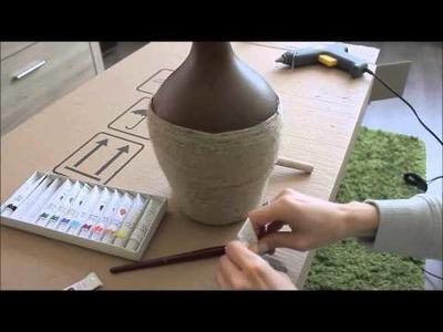 DIY jak zrobić.  wazon etniczny, wazon ze sznurka brązowy, afrykański
