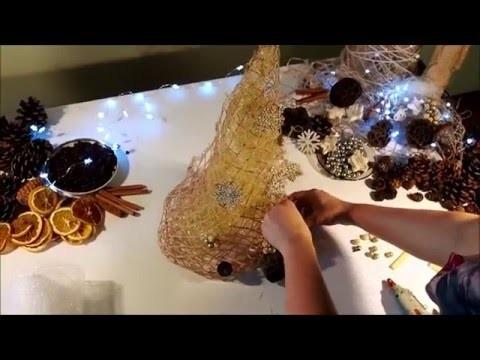 Choinka DIY z siatki florystycznej. Christmas tree DIY