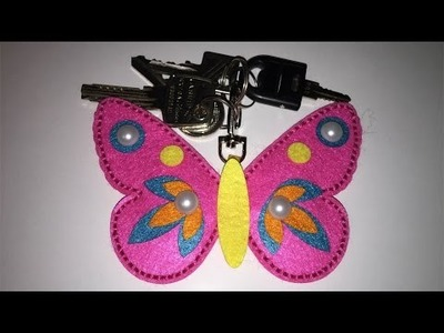 DIY felt Butterfly Keychain. My first sewing. moje pierwsze szycie