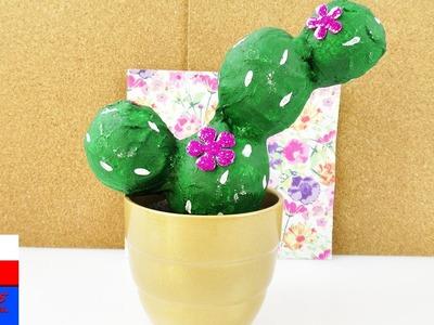 Kaktus z gipsu DIY | praktyczna roślina bez podlewania | dekoracja na parapet
