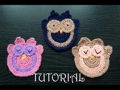 Sowa na szydełku- aplikacja. Crochet owl- applique. Tutorial