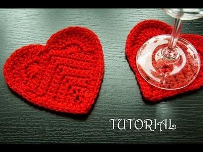 Walentynkowe serce na szydełku- podkładka. Crochet valentines heart coaster