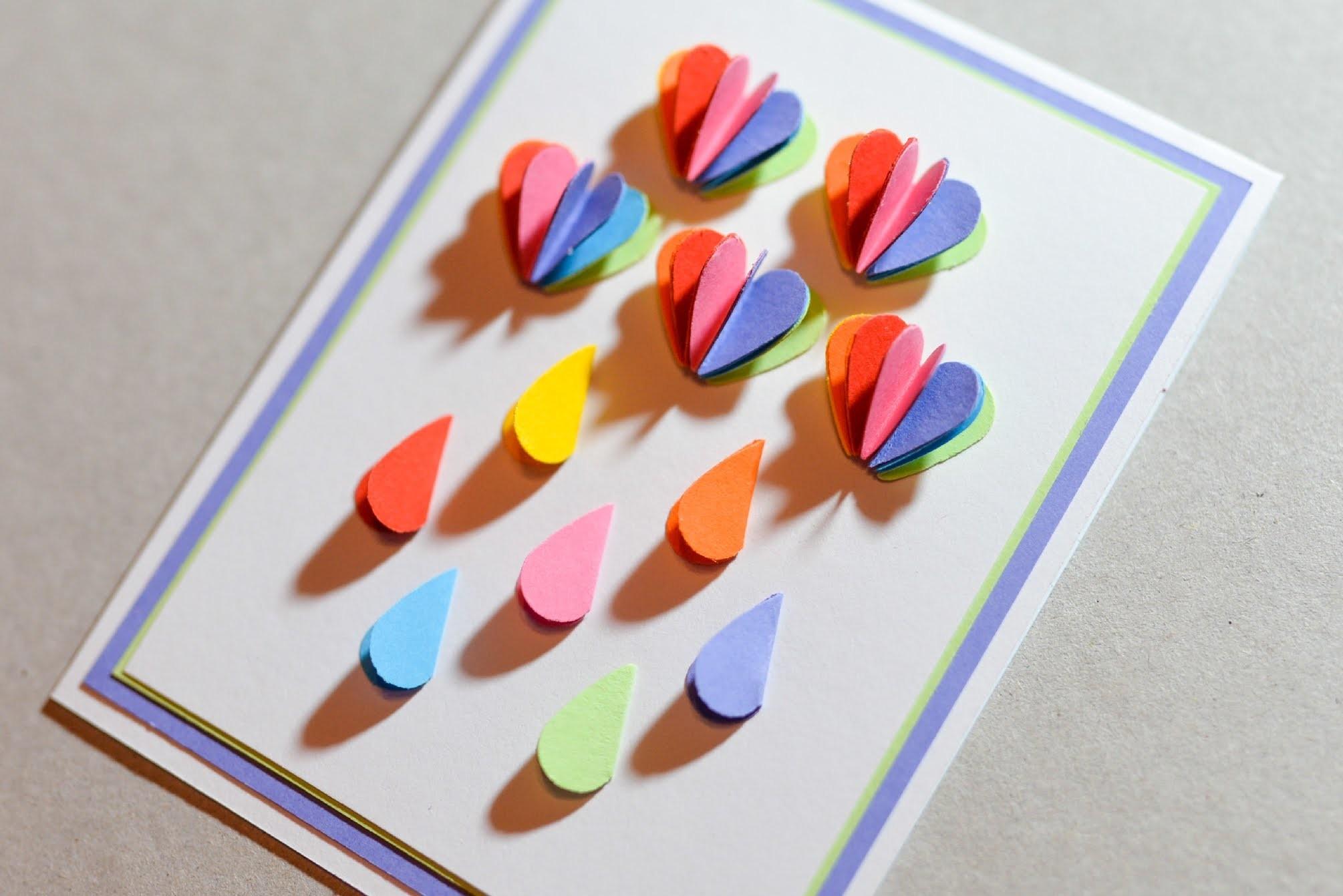 How to Make - Greeting Card Rainbow Rain - Step by Step | Kartka Tęczowy Deszcz