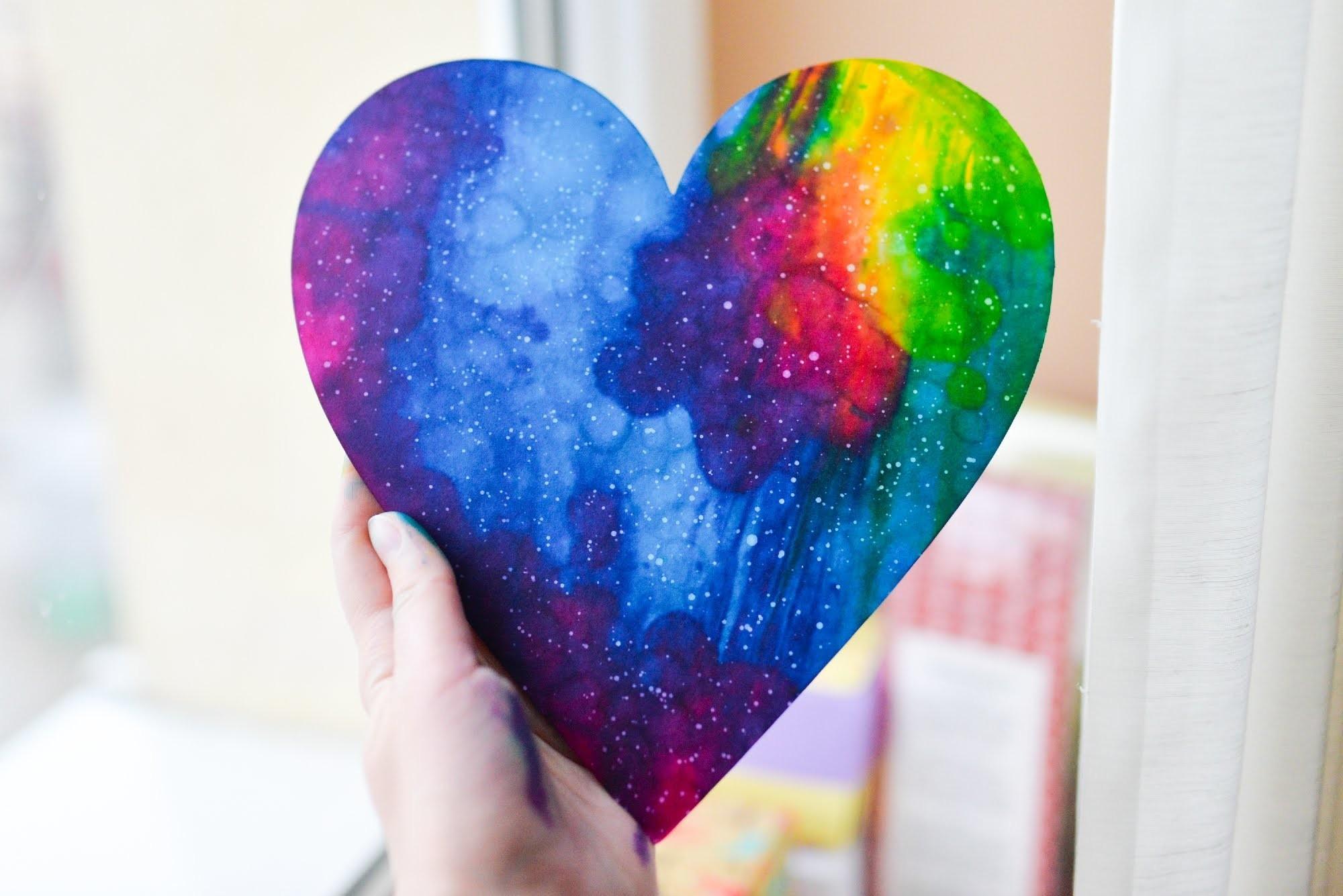 How to Make - Watercolor Galaxy Heart Valentine's Day - Step by Step | Serce Kosmos Galaktyka