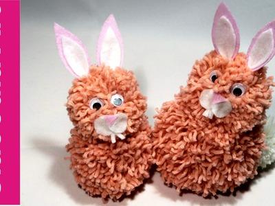Zajączek, królik z pomponów (Rabbit, bunny, pompoms)