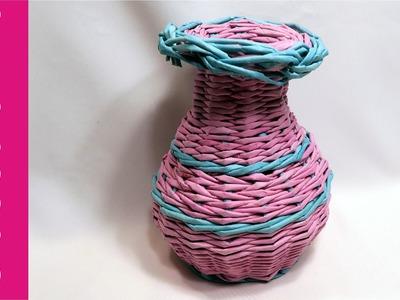 Wazon z papierowej wikliny (vase, wicker paper, DIY)